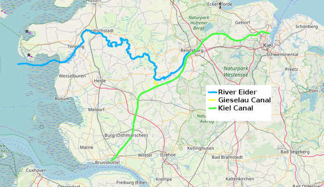 Map showing the River Eider, Gieselau and Kiel canals.