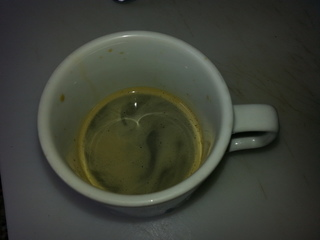 Matespresso shot. Yerba mate brewed in an espresso machine seems to give good crema, and actually tastes pretty good!