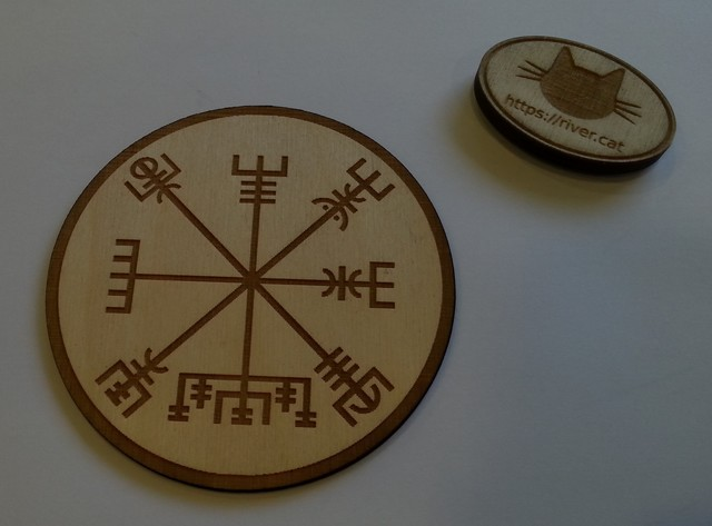 A laser engraved vegvisir. Also a rubber stamp I made by laser etching rubber and a plywood handle. :)